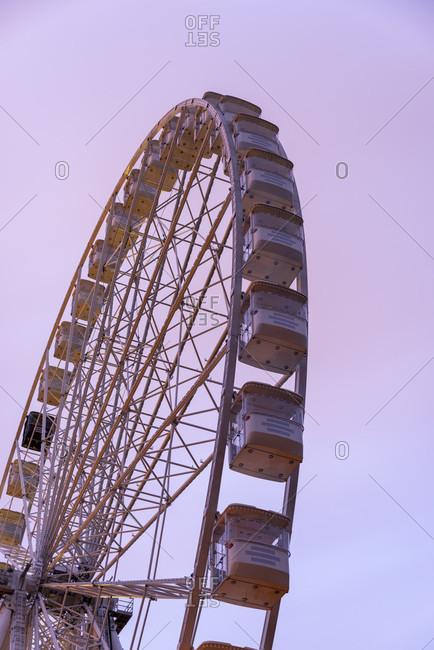 May 2, 2020: Germany, Saxony-Anhalt, Magdeburg: View of a 55-meter ferris wheel.