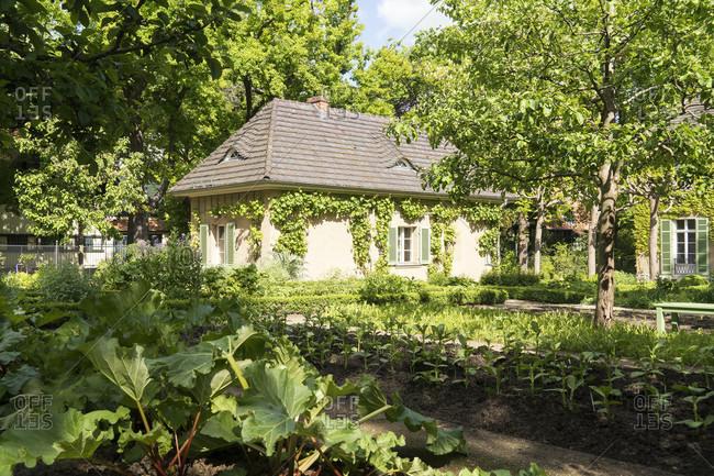 May 15, 2020: Berlin, Wannsee, Liebermann Villa, kitchen garden, garden shed
