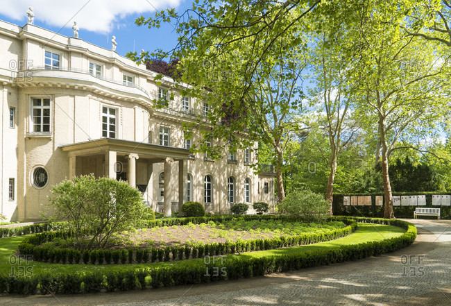 May 15, 2020: Berlin, Wannsee, House of the Wannsee Conference, driveway, main portal