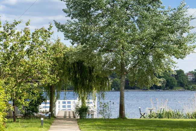 May 15, 2020: Berlin, Wannsee, garden of the Liebermann Villa, lake view