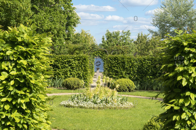 May 15, 2020: Berlin, Wannsee, garden of the Liebermann Villa, hedge garden, sundial, visual axis