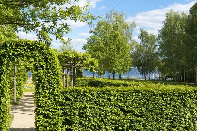May 15, 2020: Berlin, Wannsee, garden of the Liebermann Villa, hedge garden, sundial