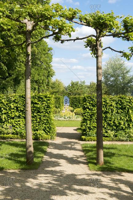 May 15, 2020: Berlin, Wannsee, garden of the Liebermann Villa, hedge garden, line of sight, sundial