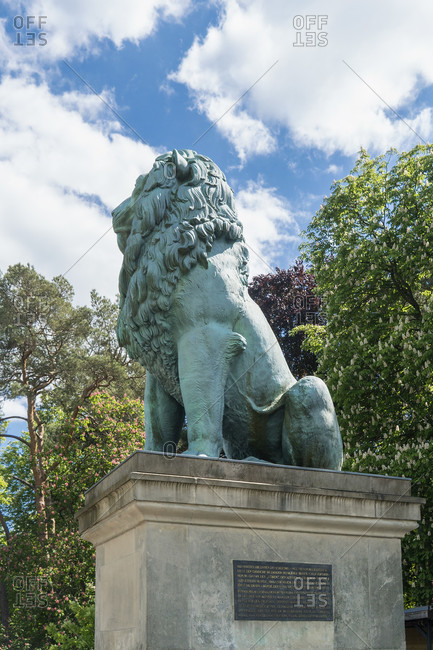 May 15, 2020: Berlin, Wannsee, Flensburg Lion, monument to German-Danish War 1850