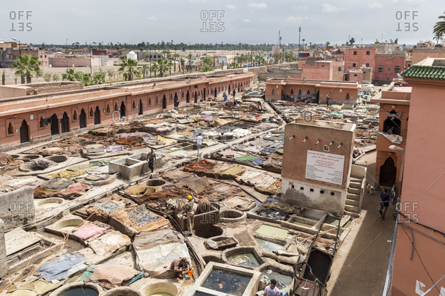 March 30, 2019: Tanneries souk, Dar Dbagh, Marrakesh, Morocco