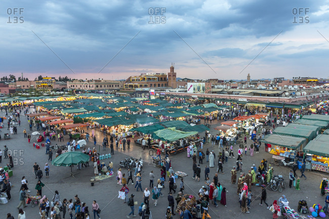 March 29, 2019: Jemaa el Fna, Marrakesh, Morocco