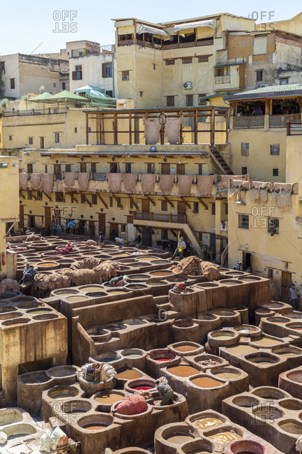 March 21, 2019: Tanneries Souk, Fes, Medina, Morocco