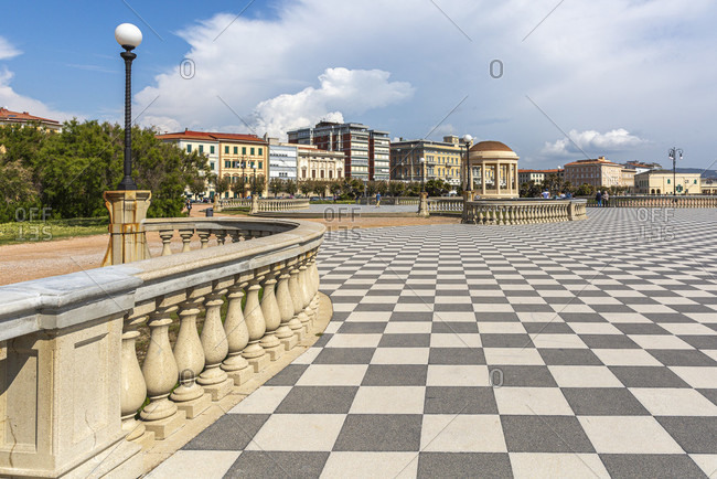 Livorno, Terrazza Mascagni. Elegant waterfront terrace with a pavilion, benches and panoramic sea and sunset views.