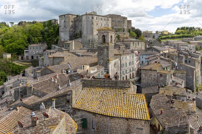 Landscape of Sorano in Tuscany, Italy