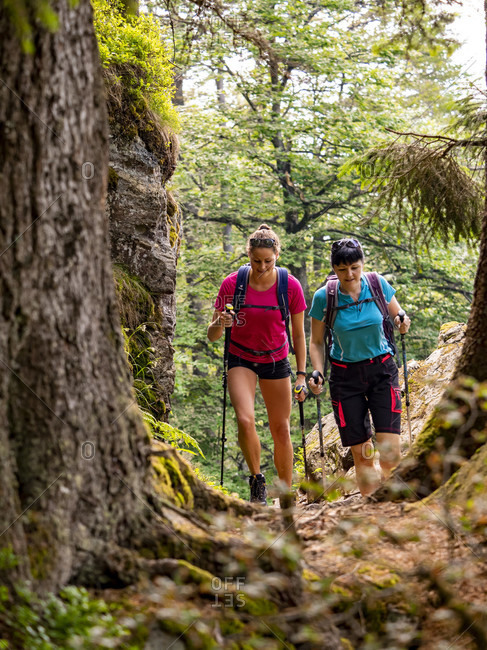June 27, 2019: Hiking on the second valley path, narrow path on the Kandel
