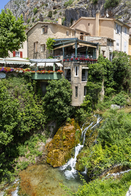 June 20, 2019: Moustiers-Sainte-Marie is a commune with 693 inhabitants in the Alpes-de-Haute-Provence, The tourist resort is one of the most beautiful villages in France