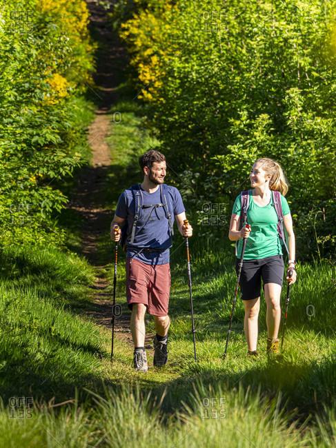 June 1, 2019: Hiking on the Zwealersteig, hiking trail at the Prechtaler Schanze