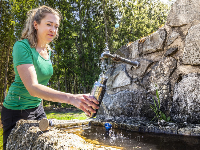 June 1, 2019: Hiking on the Zwealersteig, drinking water fountain on the hiking trail near Hohenhauser