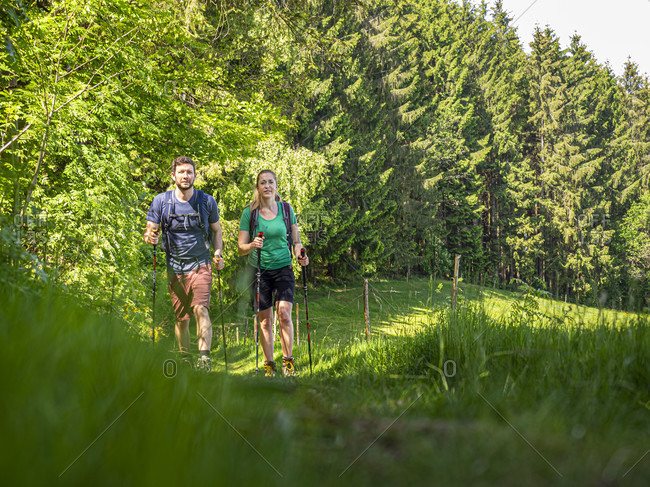 June 1, 2019: Hiking on the second valley trail, path near the Landwasser corner