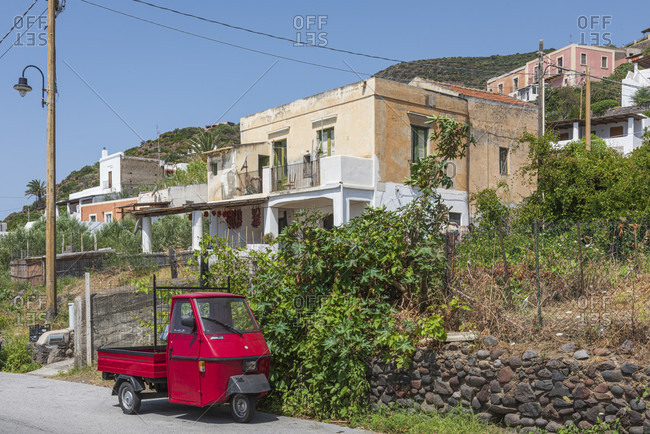July 20, 2018: Sicily - Sunny impressions of the Aeolian Islands, Red ape on the island of Salina, place Lingua.