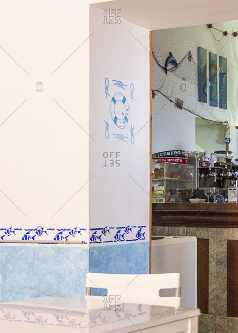 July 20, 2018: Sicily - Sunny impressions of the Aeolian Islands, Indoors in a bar on Alicudi Island.