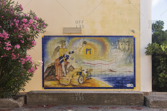July 20, 2018: Sicily - Sunny impressions of the Aeolian Islands, also known as Aeolian Islands, wall decoration made of ceramic tiles: Italian Post, Lipari.