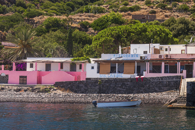 July 20, 2018: Sicily - Sunny impressions of the Aeolian Islands, Alicudi Island bar and restaurant: Bar l'Airone.