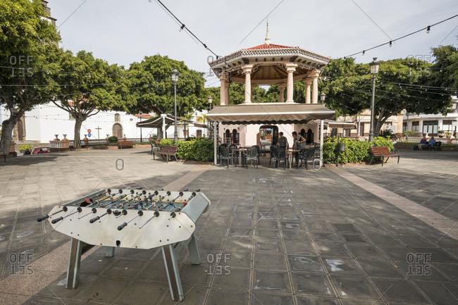 January 29, 2020: Table football on the Plaza de los Remedios in Buenavista del Norte, Tenerife, Canary Islands, Spain