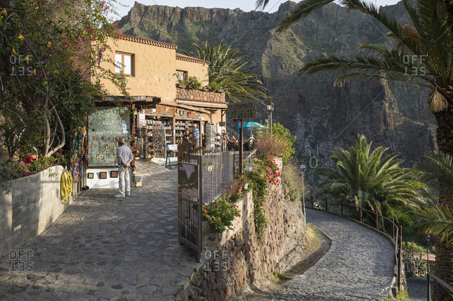 January 29, 2020: Souvenir shop and restaurant in the mountain village of Masca in the Teno Mountains, Tenerife, Canary Islands, Spain