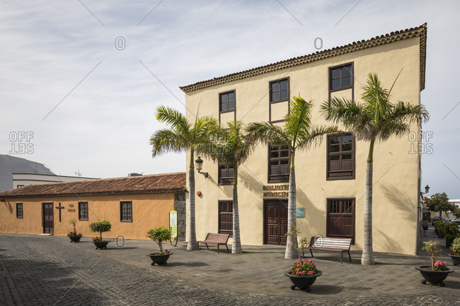 January 29, 2020: Sala El Granero Museum and library at Plaza de los Remedios, Buenavista del Norte, Tenerife, Canary Islands, Spain