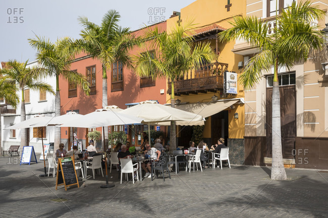 January 29, 2020: Bar Central at Plaza de los Remedios, Buenavista del Norte, Tenerife, Canary Islands, Spain