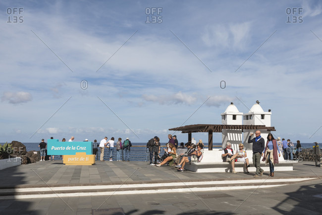 January 27, 2020: Viewing terrace on the waterfront of San Telmo, Puerto de la Cruz, Tenerife, Canary Islands, Spain