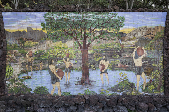 January 27, 2020: Tile picture in Taoro Park, Puerto de la Cruz, Tenerife, Canary Islands, Spain