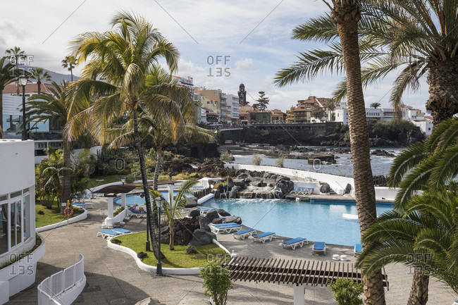 January 27, 2020: Seawater swimming pool of Lago Martianez, designed by Cesar Manrique, Puerto de la Cruz, Tenerife, Canary Islands, Spain