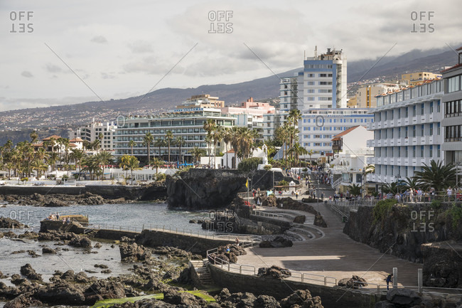 January 27, 2020: San Telmo waterfront and beach, Puerto de la Cruz, Tenerife, Canary Islands, Spain