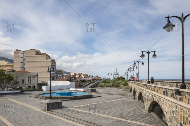 January 27, 2020: Fountain and fortification wall at Plaza Europa, Puerto de la Cruz, Tenerife, Canary Islands, Spain