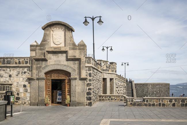 January 27, 2020: Fortress wall at Plaza de Europa, Puerto de la Cruz, Tenerife, Canary Islands, Spain