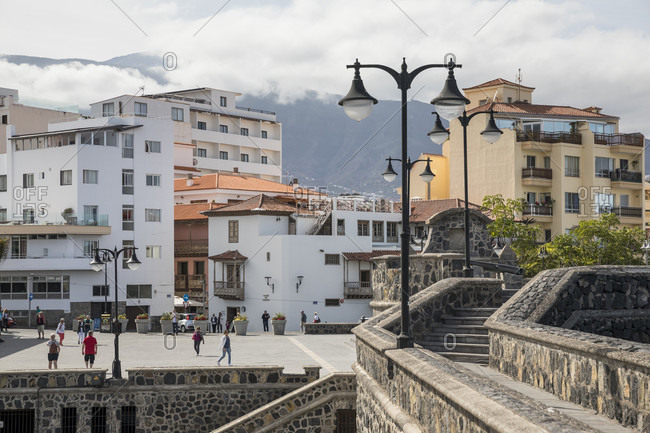 January 27, 2020: City view from the fortress wall at Plaza de Europa, Puerto de la Cruz, Tenerife, Canary Islands, Spain