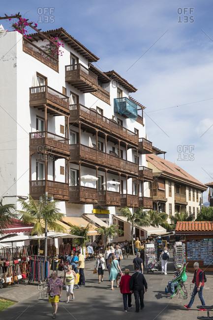 January 27, 2020: Calle Quintana commercial street and Hotel Monopol, Puerto de la Cruz, Tenerife, Canary Islands, Spain