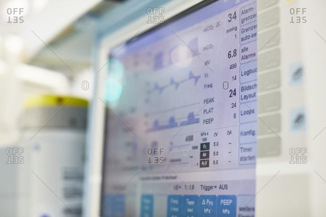 Hospital operating room, monitor, ventilation