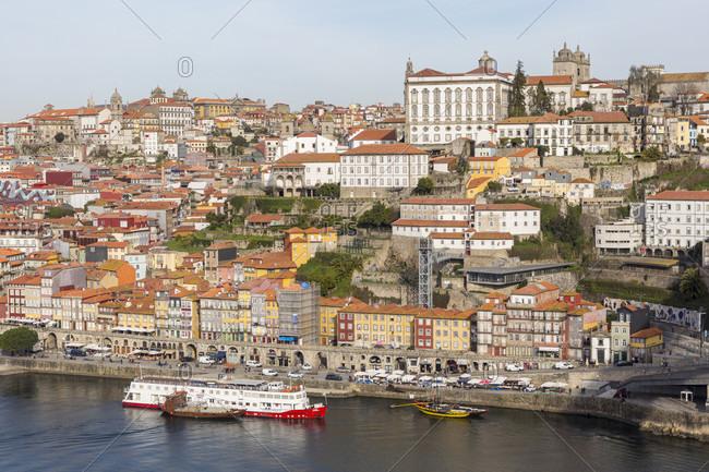 February 15, 2019: Ribeira district, Porto old town, Rio Douro