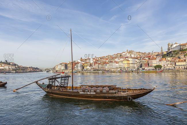 February 15, 2019: Rabelo boats, Douro river, Porto