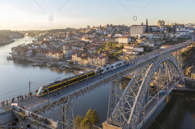 February 14, 2019: Ribeira district, Porto old town, Rio Douro, Ponte de Dom Luis I bridge