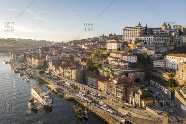 February 14, 2019: Ribeira district, Porto old town, Rio Douro