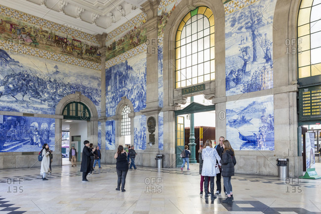 February 14, 2019: Porto Sao Bento train station, the entrance hall is adorned with great azulejos, Porto