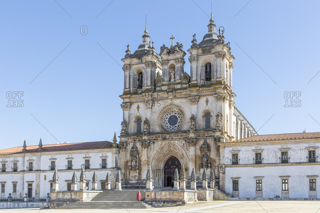 February 13, 2019: The Mosteiro de Santa Maria de Alcobaca is one of the largest, most famous and oldest monasteries in Portugal