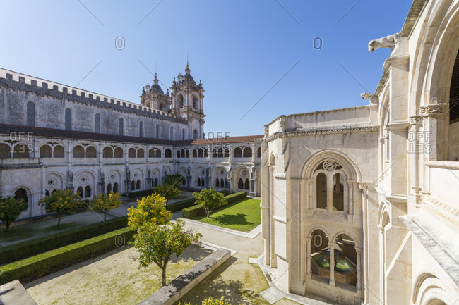 February 13, 2019: Monastery church and cloister, The Mosteiro de Alcobaca is one of the largest, most famous and oldest monasteries in Portugal
