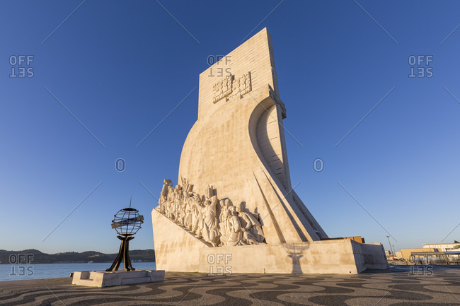February 11, 2019: The Padrao dos Descobrimentos (German Monument to the Discoveries) stands in the Belem district in Lisbon on the banks of the Tagus River