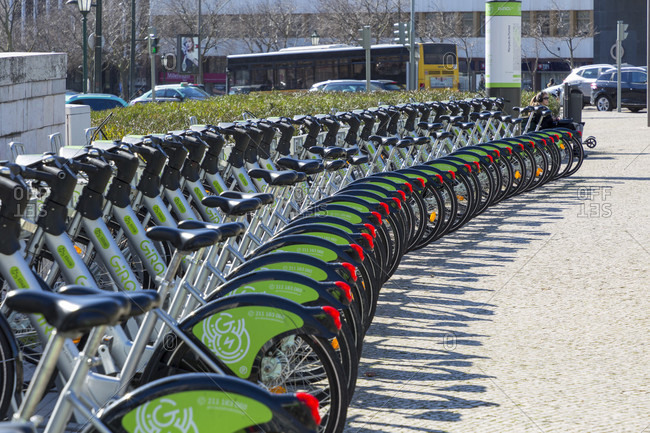 February 11, 2019: Gira Bicicletas de Lisboa, rental Farrad, Lisbon