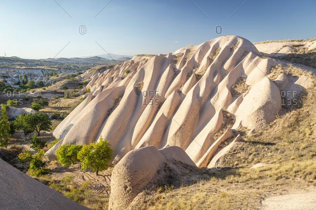 Eroded landscape and rock towers near Goreme, Cappadocia, Anatolia, Turkey