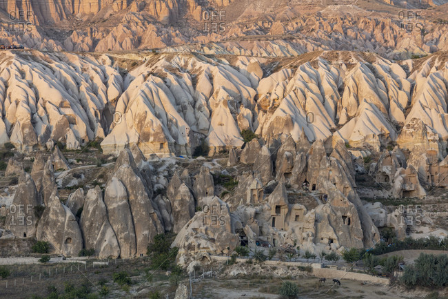 Eroded landscape and rock towers near Goreme, Cappadocia, Anatolia, Turkey