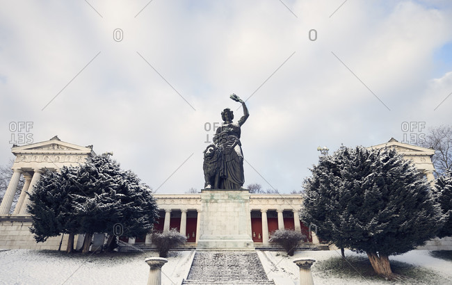 December 29, 2017: Germany, Bavaria, Upper Bavaria, Munich, Theresienwiese, Hall of Fame with bronze statue Bavaria