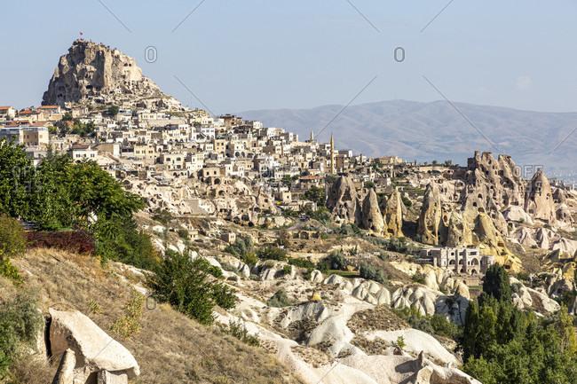 Castle rocks and the place Uchisar, Cappadocia, Anatolia, Turkey