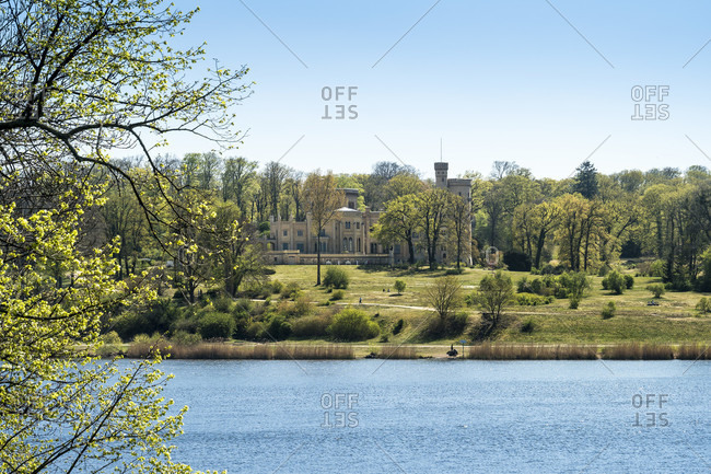 Berlin, Wannsee, view from Glienicke Bridge to Babelsberg Palace and Park