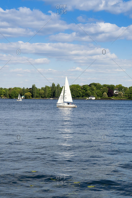 Berlin, Wannsee, sailing boat, bright to cloudy